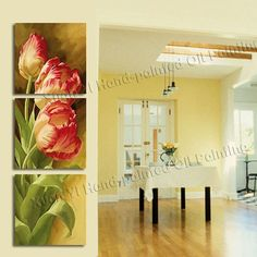 3 Panel Modern Printed Tulip Flower Painting Picture Cuadros Flowers Canvas Wall Art Home Decor For Living Room No Frame PR211