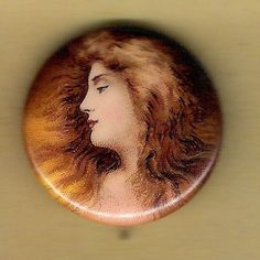 "Vintage Pinback Button Pin Political Badge 1900's Cigarette Ad ""Pretty Lady"" 1"