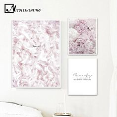 Buy Scandinavian Style Pink Flower Feather Canvas Posters and Prints Wall Art Painting Nordic Decoration Pictures Modern Home Decor Canvas Poster, Poster Wall, Canvas Wall Art, Wall Art Prints, Poster Prints, Abstract Canvas, Canvas Frame, Picture Arrangements On Wall, Decorating With Pictures