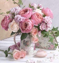 English Roses Marianna Lokshina - Bouquet Of English Flower Arrangements Simple, Flower Vases, Cactus Flower, Flower Bouquets, Bloom, Pretty Flowers, Fresh Flowers, Pink Roses, Pink Flowers