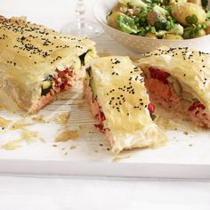 Try our delicious Salmon and Roasted Vegetables in Filo recipe. This is a real showstopper, great for a large lunch gathering, but not over-fiddly and easily prepared ahead. Seafood Recipes, Cooking Recipes, Shellfish Recipes, Cod Recipes, Salmon Recipes, Filo Recipe, Easy Dinner Party Recipes, Dinner Ideas, Dinner Party Starters