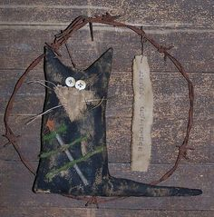 rusty barbed wire wreath ~ happy christmas primitive cat ~ catnap*primitives | eBay