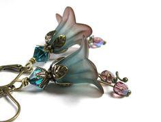 Teal and Amethyst flower earrings/vintage-style-flower-earrings-teal fashion #style #Swarovski #antiqued brass