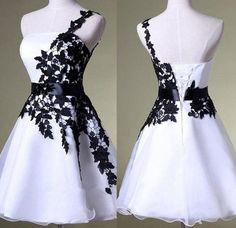Short prom dress,Unique A-line One Shoulder Black Lace & White Organza Homecoming Dresses