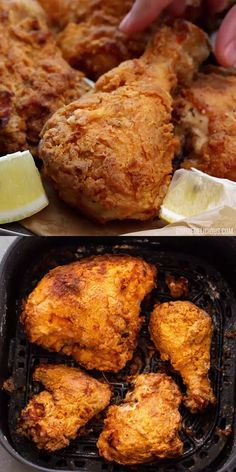 Learn how to make the BEST buttermilk fried chicken in the air fryer in under 45 minutes. Super crispy on the outside and tender and juicy, this air fried chicken is loaded with spices and tastes better than frying in oil and is so much healthier too! Air Fryer Oven Recipes, Air Frier Recipes, Air Fryer Dinner Recipes, Grilling Recipes, Slow Cooker Recipes, Air Fryer Recipes Videos, Toaster Oven Recipes, Tailgating Recipes, Seafood Recipes
