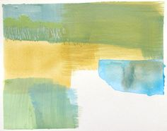 Beige Blue Green Abstract Landscape 8 x 10 by laurenadamsart, $60.00