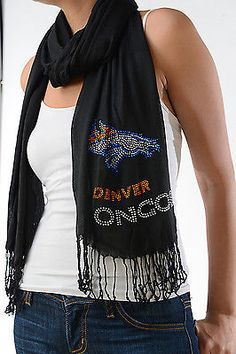 Denver Broncos Black Scarf Wrap Womens Football Team Rhinestone Crystals
