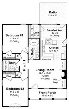 First Floor Plan of Cape Cod   Country   Ranch   Traditional   House Plan 59043