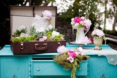Romantic Vintage English Garden Wedding with painted Furniture & vintage suitcase