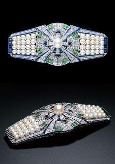 Best Diamond Bracelets  : An Art Deco Obi-sash clip The Yaguruma by Mikimoto Japan 1930s. The clip wi