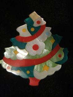 Unusual Old Plastic Christmas Tree Pin