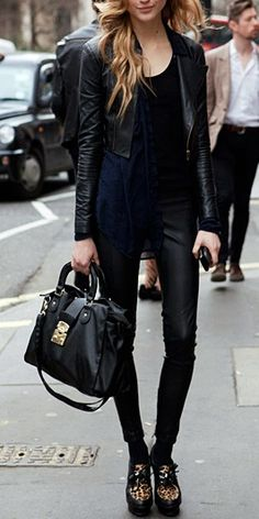 Sleek leather.  #outfit #street #urban #style #black #fashion #clothes #effortless #weekend #biker #chic #structured #jacket #handbag #shoes #bags