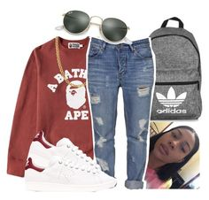 """""""Party Favors ~ Tinashe"""" by retrovintagepizza ❤ liked on Polyvore featuring A BATHING APE, adidas, Fremada, Standard Jean Co and Ray-Ban"""