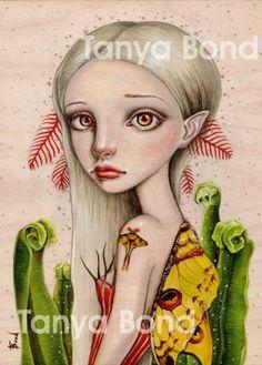 COMET MOTH - surreal pop lowbrow fantasy art - 5x7 print of an original painting by Tanya Bond - moonmoth girl fern wings
