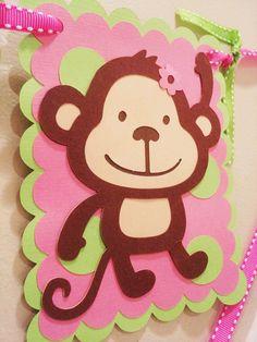 "Girls Mod Monkey ""I am One"" Birthday Banner. First Birthday Party inspiration Monkey First Birthday, Monkey Birthday Parties, First Birthday Banners, Girl Birthday, Birthday Ideas, Monkey Girl, Monkey Baby, Birthday Treat Bags, Party Themes"