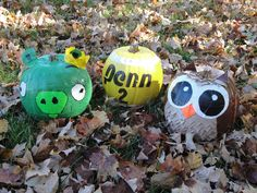 We each made a Duct Tape pumpkin this year.  Max made an angry bird pig, Bob made a tennis ball, and I made an owl.  Super fun!