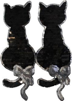 Black and Silver Bow Cats: Sequin Patch