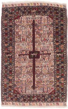 """Hand-knotted Guchan Cream, Dark Red Wool Rug [3'11"""" x 5'11"""" - $317]"""