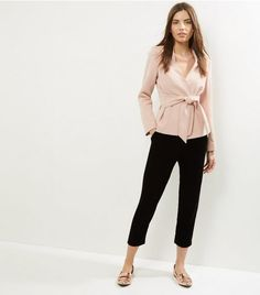 Shell Pink Tie Front Cropped Jacket    New Look