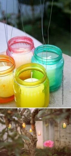 Dyed Glass Luminaries - 23 Clever DIY Uses of Baby Food Jars | Upcycle And Repurpose Ideas at http://diyready.com/diy-uses-of-baby-food-jars/