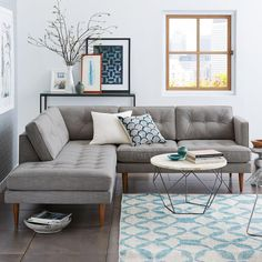{west elm} Peggy Mid-Century Terminal Chaise Sectional || what do you think about mid-century?  I like this look for your house!