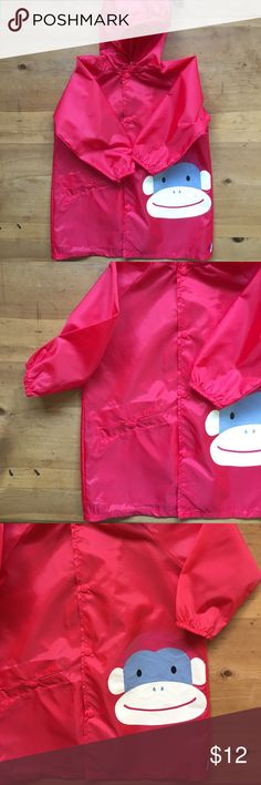 I Play Raincoat Excellent condition red with monkey face on front one pocket in front snaps close has hood and buttons up front size 3T to 4T fits 30 to 46 lbs pvc free fun and cute💕💕🎈 I Play Jackets & Coats Raincoats