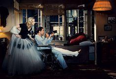Scarlett Johansson and Javier Bardem in Rear Window #Vogue #Hitchcock