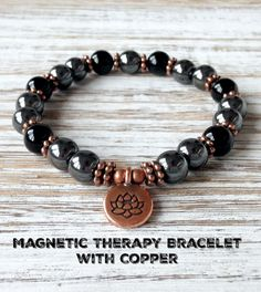 Magnetic Therapy Bracelet with Copper, Magnetic Hematite Bracelet, Healing Fibromyalgia Arthritis Diabetes Migraines Chronic Pain Relief