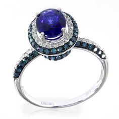 EFFY™ Collection Oval Ceylon Sapphire and 5/8 CT. T.W. Enhanced Blue and White Diamond Ring in 14K White Gold - $1799 size 6
