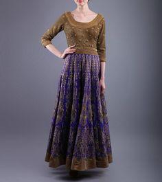 Blue & Golden Sequined Raw Silk Dress  http://www.shadesandyou.com/product/blue-golden-sequined-raw-silk-dress/