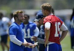 New Rams head coach Sean McVay works with second-year quarterback Jared Goff. Rams Head Coach, Sean Mcvay, Nfl Rams, Jared Goff, First Job, Lets Do It, Have Time, Coaching, Interview