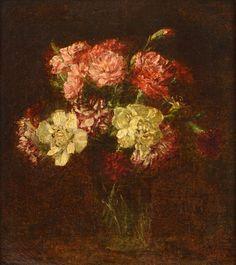 Henri Fantin-Latour (1836-1904), Bouquet d'œillets, 1899, huile sur toile, 31 x 28 cm. Adjugé : 80 600 € Jeudi 7 juillet - salle V.V. Millon OVV.