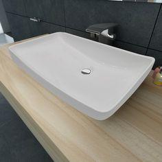 Vasque à poser en céramique Rectangulaire Blanche 71 x 39 cm