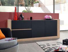 meuble buffet enfilade moderne couleur noir mat et chêne clair
