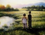 Country Kids XL Canvas Giclee - Vickie Wade art, prints, paintings, brother, sister, boy, girl, country, lake, sunset, children