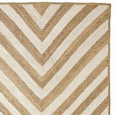 Layer bleached vintage area rug over this Chevron Jute Rug #serenaandlily