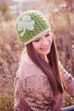Crochet by Dugan's Girls {Shamrock beanie} https://www.facebook.com/pages/Dugans-Girls/147396202020393 #DugansGirls #BuyHandMade #LynzeeLeighPhoto