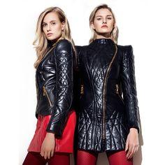 Daniele Bardis AW 2015/16 blonde girls modeling black leather fashion jackets.