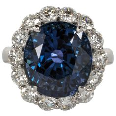 Rare Natural No Heat GIA Certified 13 carat Cushion Sapphire and Diamond Ring | From a unique collection of vintage cocktail rings at http://www.1stdibs.com/jewelry/rings/cocktail-rings/