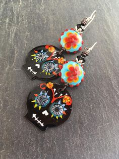 Sugar Skull Earrings Day of the Dead Dia de las Muertas