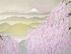 'View of Mt. Fuji' lithograph by Reiji HIRAMATSU Japanese Art Styles, Japanese Prints, Japanese Design, Sakura Painting, Japanese Painting, Rodin, Spring Painting, Mountain Paintings, Painting Gallery