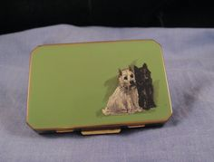 STRATTON ENAMEL SCOTTISH TERRIER SCOTTIE DOGS VINTAGE MIRROR POWDER COMPACT A1
