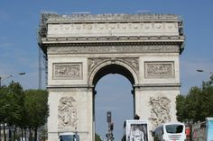 arc de triomphe from pedestrian island in the middle of the Champs-Élysées
