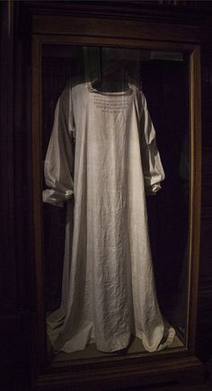 Coughton Court, Warwickshire The nightdress of Mary Queen of Scots.