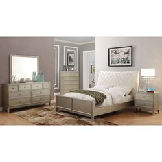 Furniture Of America Estevia Contemporary 4 Piece Silver Grey Bedroom Set  (King),