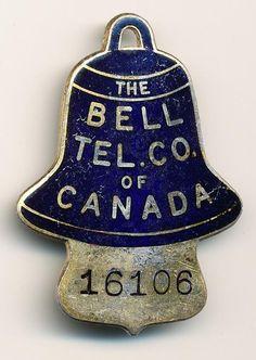 Vintage Bell Telephone Co of Canada Employee Badge 16106   eBay