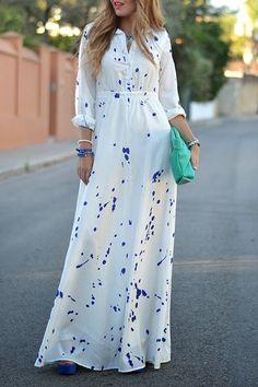 White Polka Dot Print Buttons Turndown Collar Long Sleeve High Waisted Floor Length Fashion Maxi Dress
