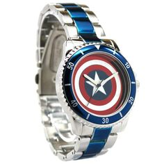 Captain America Shield Watch with Metal Bracelet Band