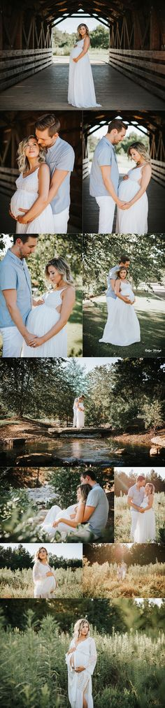 I love this sweet, romantic belly shoot! Such pretty photography and her belly is so big a beautiful! That covered bridge photo is so so pretty.