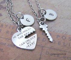 Key To My Heart Couple Charm Necklace by gsakowskistudiolite